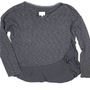 Deletta Anthropologie S Gray LS Top Sweater